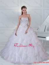 Detachable Sweetheart White Quinceanera Dress with Ruffles and Beading QDZY152TZFXFOR