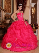 Kuna Yala Panama Lovely Hot Pink Sweetheart Quinceanera Gowns With Appliques and Pick-ups For Sweet 16 Style QDZY372FOR
