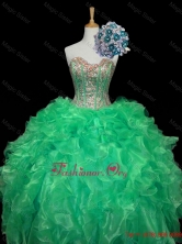 Top Seller Turquoise Ball Gown Quinceanera Dresses with Sequins and Ruffles SWQD006-8FOR
