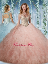 Exclusive Deep V Neck Peach Quinceanera Dress With Beading and Ruffles