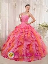 2013 Sweetheart Multi-color Quinceanera Dress Clearance With Appliques and Ruffles Decorate In Neyba Dominican Style QDZY337FOR
