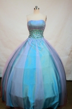 Affordable Ball gown Strapless Floor-length Beading Blue Quinceanera Dresses Style FA-C-100