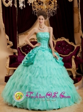 Apple Green Quinceanera Dress Strapless Taffeta and Organza Ruffles Layered and Ruched Bodice Ball Gown In Aserri Costa Rica Style QDZY005FOR