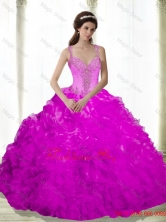 Elegant Beading and Ruffles Sweetheart Fuchsia 2015 Dresses for a Quinceanera SJQDDT16002-2FOR