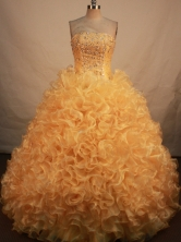 Exclusive Ball Gown Strapless Floor-length Gold  Organza Beading Quinceanera dress Style FA-L-135