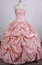 Exquisite Ball Gown Strapless Floor-length Taffeta Quinceanera Dresses Style FA-C-043