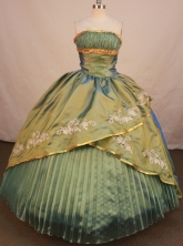 Gorgeous Ball Gown Strapless Floor-length Olive Green Taffeta Appliques Quinceanera Dress Style FA-L-149