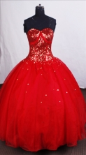 Modest Ball Gown Sweetheart-neck Floor-length Sequins Quinceanera Dresses Style FA-C-051