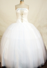 Popular Ball Gown Floor-length White Beading Quinceanera Dress Style FA-L-130