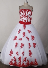 Pretty Ball Gown Strapless Floor-length White Quinceanera Dress LJ2632