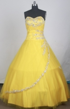 Pretty Ball Gown Sweetheart Neck Floor-length Yellow Quinceanera Dress LZ426046