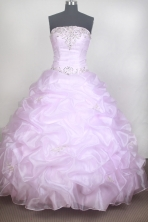 Romantic Ball Gown Strapless Floor-length Baby Pink Quinceanera Dress LZ426062