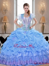 Smart 2015 Baby Blue Quinceanera Dresses with Appliques and Pick Ups SJQDDT40002-2FOR