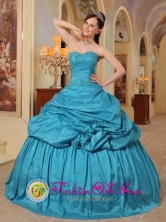 Sweet 16 Teal Quinceanera Dress With Pick-ups Sweetheart Neckline Taffeta in Formal Evening Aserri In Costa Rica Style QDML079FOR