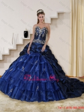 2015 Fall Detachable Embroidery and Beaded Strapless Quinceanera Dress in Navy Blue QDZY319TZFXFOR