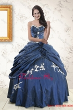 2015 Fall Gorgeous Sweetheart Ball Gown Quinceanera Dresses in Navy Blue XFNAO693FOR