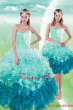 2015 Fall Pretty Sweetheart Multi Color Quince Dresses with Beading and Ruffles XFNAO5640TZFOR