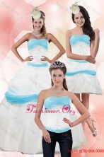 Elegant Strapless Ball Gown Quinceanera Dress with Appliques for 2015 XFNAO001TZA1FOR