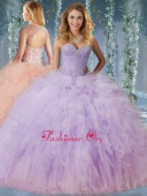 Exclusive Beaded and Ruffled Quinceanera Dress with Detachable Straps