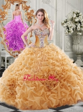 Exclusive Organza Champagne Sweet 16 Dress with Beading and Ruffles SJQDDT511002FOR
