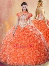 Lovely  Straps Brush Train Quinceanera Dresses with Ruffles SJQDDT428002FOR