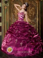Piura Peru Beading Exquisite Burgundy Straps Taffeta Ball Gown 2013 wholesale Quinceanera Style QDZY264FOR