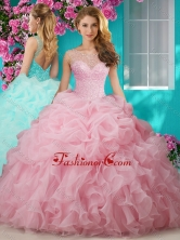 Simple Beaded and Ruffled Big Puffy Quinceanera Gown with See Through Scoop SJQDDT625002FOR