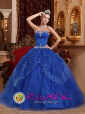 Villa del Rosario Colombia Wholesale Customize Appliques and Beading Blue For Affordable Quinceanera Dress Sweetheart Tulle Style QDZY364FOR