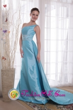 2013 Light Blue One Shoulder Column Watteau Train Beading Taffeta Prom Dress IN Cobija Bolivia Wholesale Style PDHXQ194274FOR