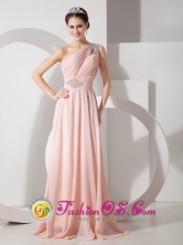 Andahuaylas Peru One Shoulder Baby Pink Elegant Brush Train Chiffon Ruch wholesale and Beading for 2013 Prom Style GNTB080825FOR