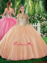 2016 Simple Ball Gown Sweetheart Beading Champagne Sweet 16 Dresses SJQDDT312002FOR