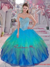 Cheap Multi Color Sweetheart Sweet 16 Dresses with BeadingQDDTC51002FOR