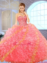 Fashionable Beading Multi Color Sweet 16 Dresses with Ball Gown SJQDDT149002-2FOR