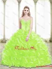 Sophisticated 2016 Sweetheart Beading and Ruffled Layers Quinceanera Dresses in Lime GreenSJQDDT25002-4FOR
