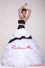 White and Brown Sweetheart Appliques and Ruffles Quinceanera DressFFQD034FOR