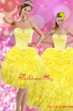 2015 Sweetheart Yellow Detachable Quinceanera Dresses with Beading and Ruffles XFNAOA03TZFOR