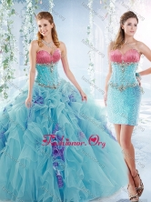 Latest Ruffled and Beaded Detachable Quinceanera Gowns in Aquamarine  SJQDDT543002AFOR