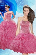 Luxurious Coral Red Detachable QuinceaneraDresses with Beading and Ruffles XFNAOA06TZFOR