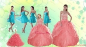 Beading Watermelon Quinceanera Gown and Baby Blue Short Dama Dresses and Halter Top Watermelon Little Girl Dress XFNAOA27ZHTZ004FOR