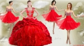 New Arrivals Red Big Puffy Quinceanera Dress and Wonderful Rhinestoned and Ruched Dama Dresses  SJQDDT476002-2PJTZ002FOR