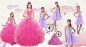 Popular Beading and Ruffles Quinceanera Dress and Bownot and Beading Short Dama Dresses and Pink Floor Length Little Girl Dress XFNAOA46ZHTZ004FOR