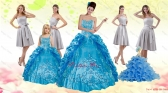 Teal Sweetheart Embroidery Quinceanera Dress and Strapless Short Dama Dresses and Spaghetti Straps Ruffles Flower Girl Dress XFNAOA36ZHTZ001FOR