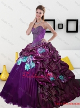 2015 Summer Luxurious Sweetheart Quinceanera Dresses with Pick Ups and Appliques QDDTC9002FOR