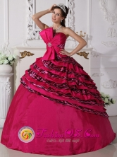 Bowknot Beaded Decorate Zebra and Taffeta Hot Pink Ball Gown For Formal Evening In Resistencia Argentina Style QDZY705FOR