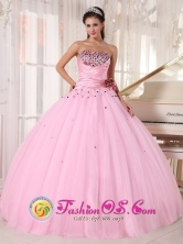 Custom Made Pink Sweet 16 Tulle Dress with Beaded and Ruched Bodice Taffeta and With Hand Made Flowers In Trujillo Honduras  Style PDZY737FOR