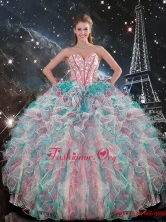 Exclusive Sweetheart Beaded and Ruffles Quinceanera Gowns in Multi Color QDDTA91002FOR