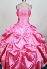 Gorgeous Ball Gown Halter Top Floor-length Quinceanera Dresses Appliques with Beading Style FA-Z-0330