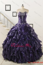Luxurious 2015 Ball Gown Purple Quinceanera Dresses with Appliques FNAO020FOR