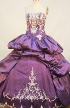 Luxurious Ball gown Strapless Floor-length Taffeta Purple Quinceanera Dresses Embroidery with Beading Style FA-Y-0036