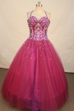 Wonderful ball gown halter top and sweetheart-neck floor-length quinceanera dress TD2470